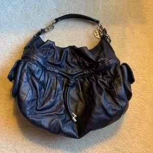Metallic blue Coach purse
